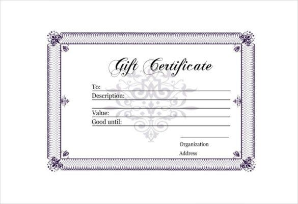 Blank gift certificate template 29 examples in pdf word free 123certificates this template with its beautiful purple border and floral designs is elegant and sophisticated it also gives necessary information yadclub Images