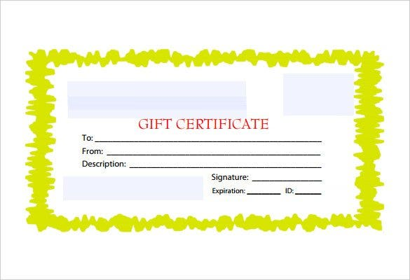 custom yello border blank gift certificate free pd