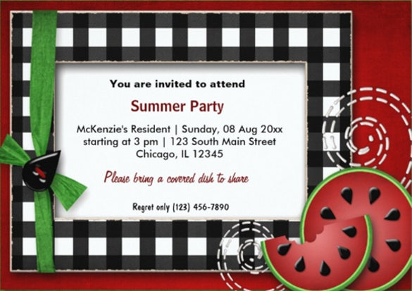 summer picnic invitation card