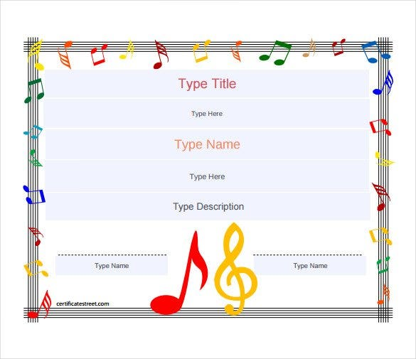 Music Award Blank Gift Certificate PDF Template Free Download  Gift Certificate Template Free Word