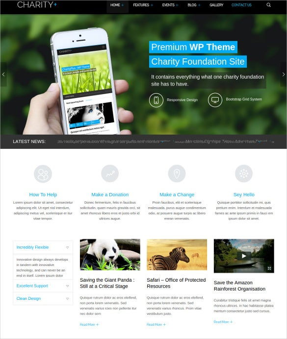 responsive charity plus wordpress theme