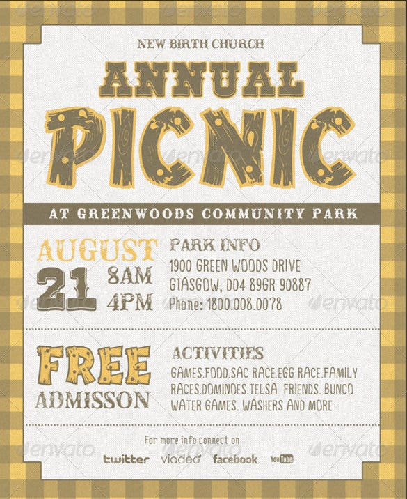 image regarding Free Printable Picnic Invitation Template referred to as 26+ Picnic Invitation Templates - PSD, Phrase, AI Totally free