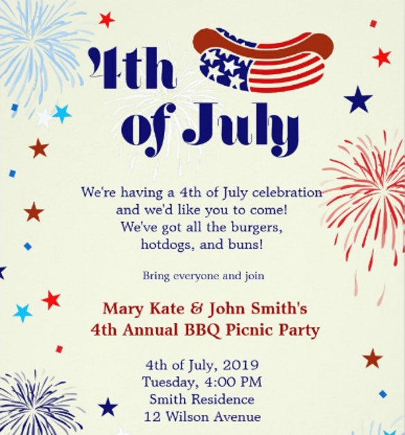 Picnic invitation template 26 sample example format for 4th of july menu template