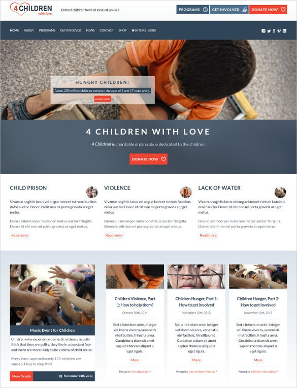 hungry charity wordpress theme