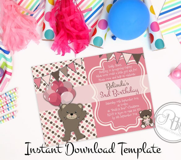 teddy bear picnic birthday invitation baby shower1