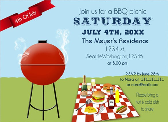 4th of july bbq picnic party invitation templates