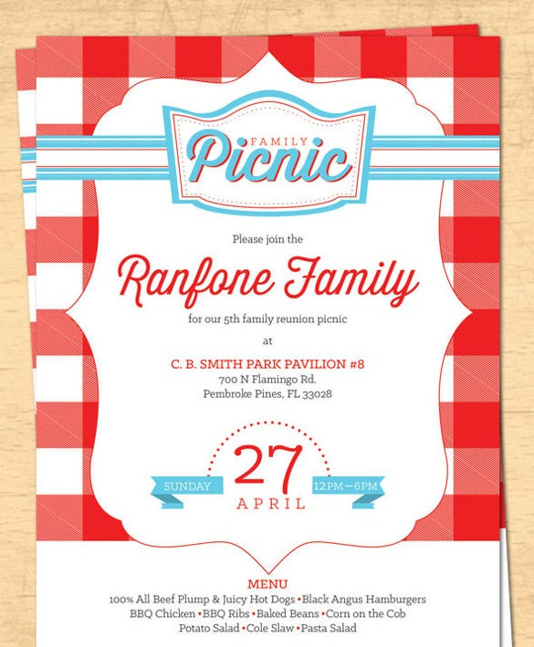 17 Picnic Invitation Templates Free Sample Example Format – Reunion Invitation Template