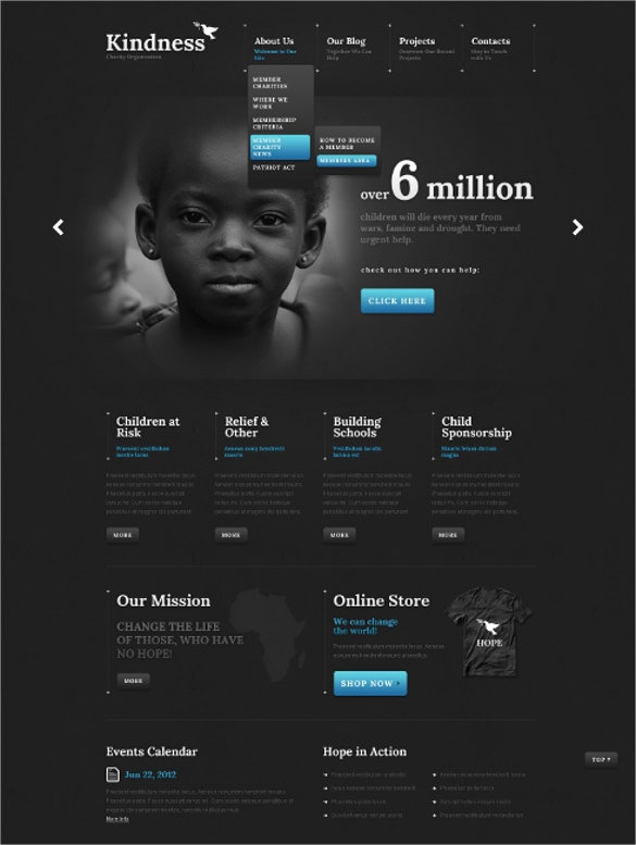 dark children charity wordpress theme