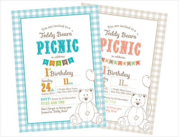 birthday party invitation template teddy bears picnic