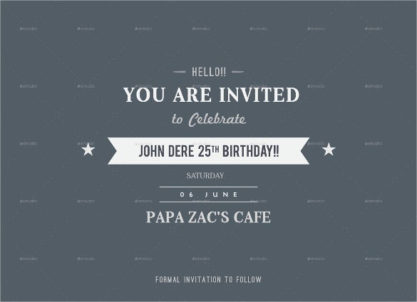 blue birthday invitation postcard