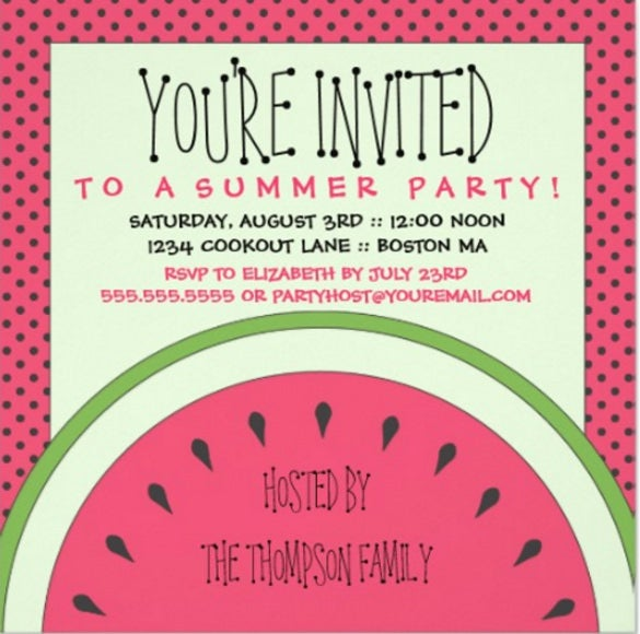 watermelon summer party invitation1