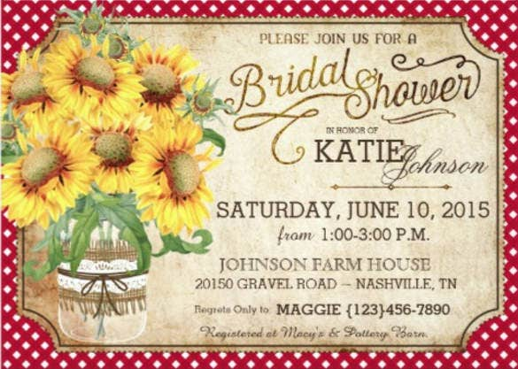 sunflowers gingham country picnic bridal shower invitation card1