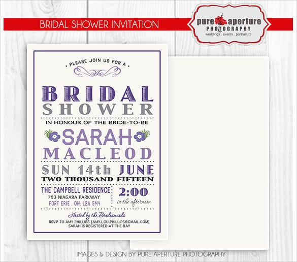 lavendar purple bridal shower invitation postcard psd printable
