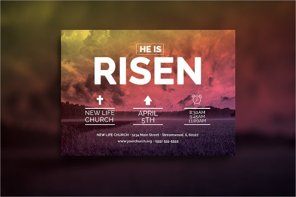 easter sunday church postcard template