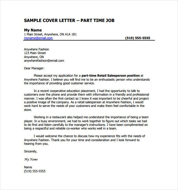 Part Time Job Cover Letter PDF Template Free Download  Writing A Cover Letter For A Job