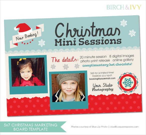 christmas photography marketing postcard template