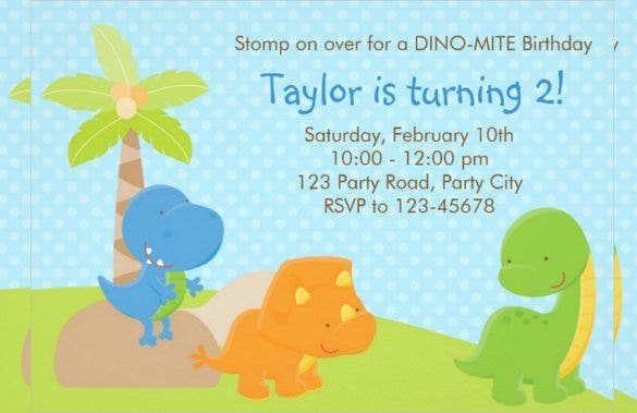 animated colourful dinosaur birthday invitation fo
