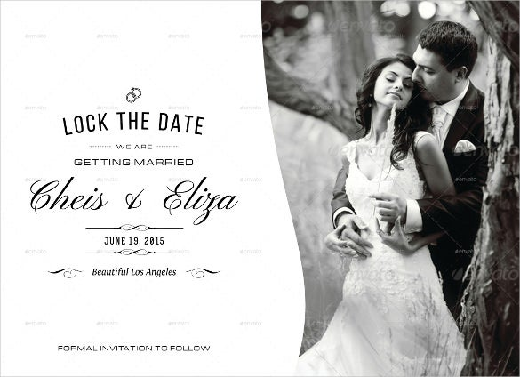 black and white lock the date postcard template for wedding