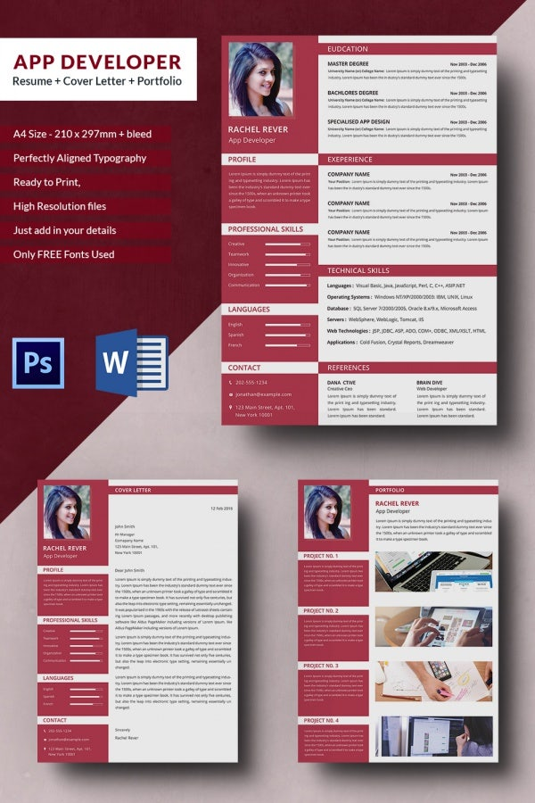 app developer resume cover letter portfolio template free
