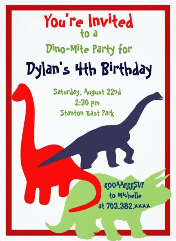 beautiful hand made dinosaur art birthday invitati