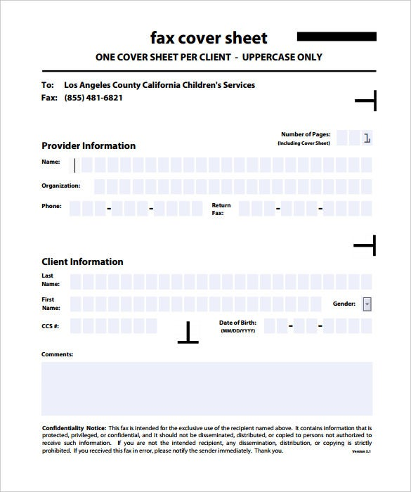 Confidential Fax Cover Sheet Templates  Free Sample Example