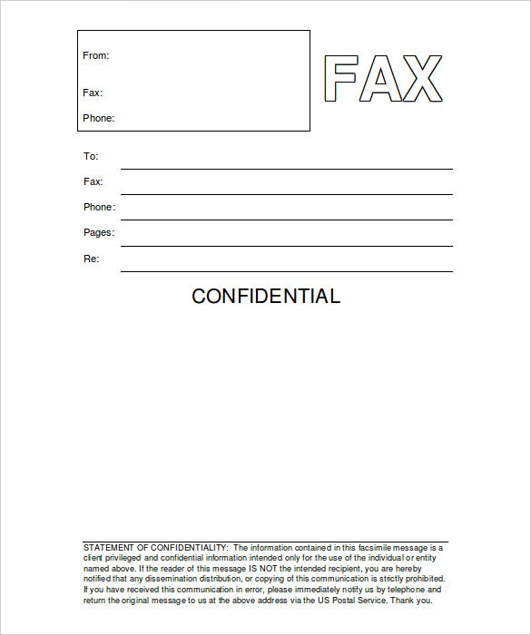 printable fax cover sheet confidential