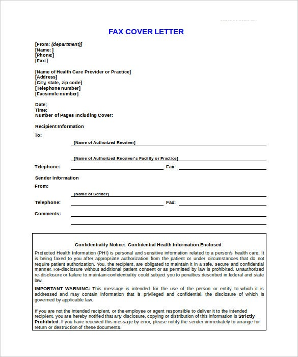 confidentiality notice fax cover sheet template sample format