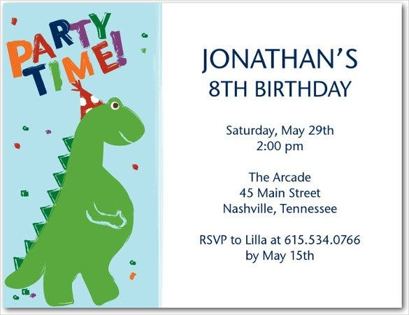 Blue And White Dinosaur Birthday Invitation For Ki