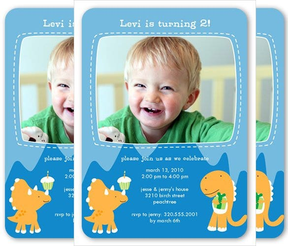 blue coloured birthday invitation with photo for s