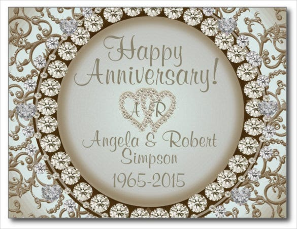 golden jewel postcard design template for anniversary