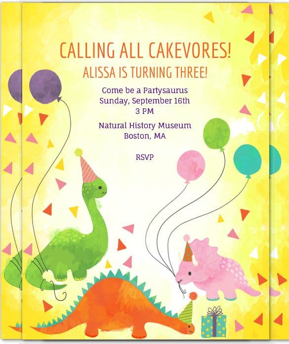 colourful dinosaur birthday invitation with envelo