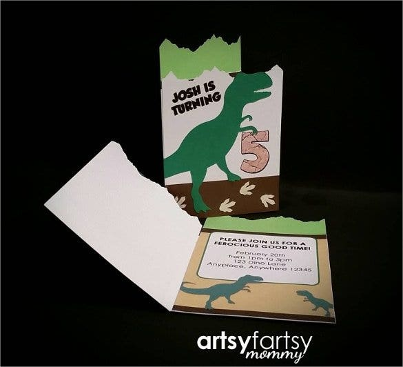 custom printed dinosaur birthday invitation1