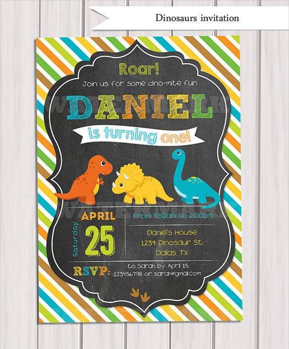 Digital Dinosaur 1st Birthday Invitation Template
