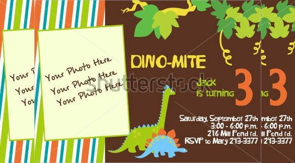 dinosaur birthday invitation with custom photo 1