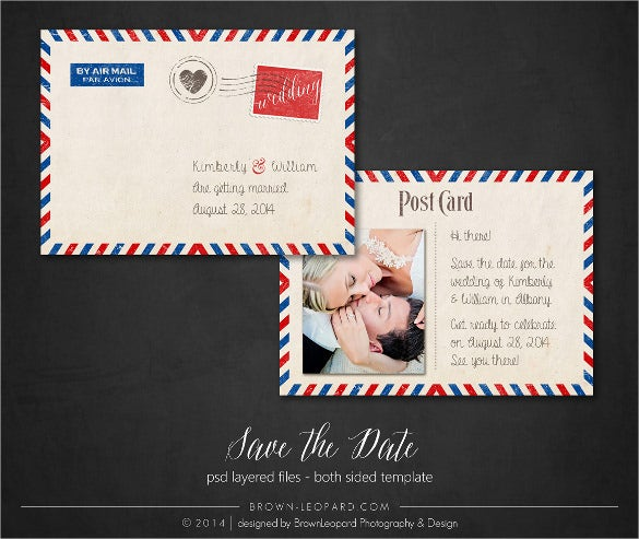 save the date premade postcard template
