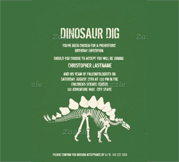 Green Paper Dinosaur Birthday Invitation Card