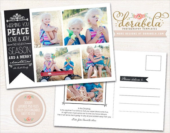 flat photo card 5x7 postcard psd template