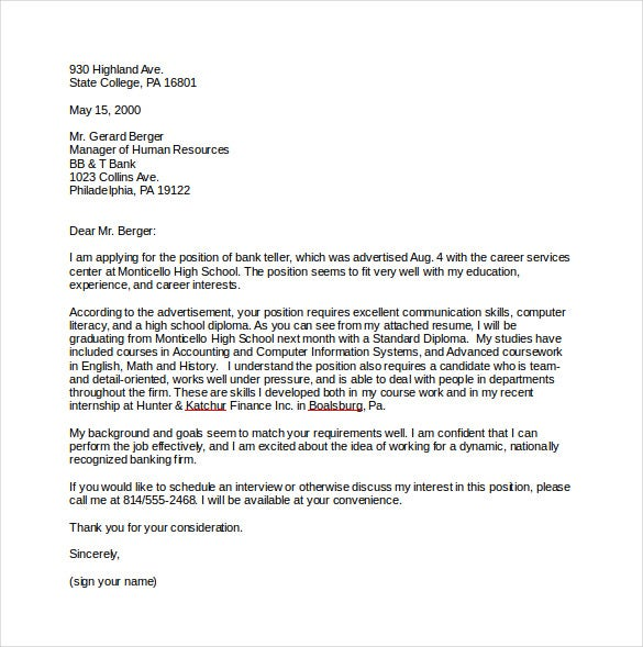 9 Job Cover Letter Templates Free Sample Example Format – Professional Cover Letter Template Example