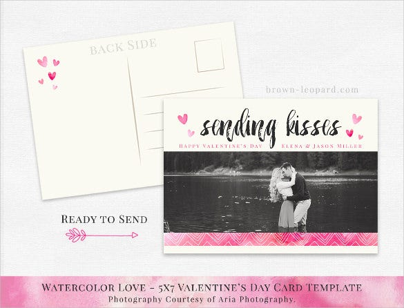 valentines day postcard template