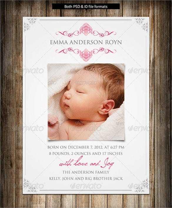 baby announcement postcard template