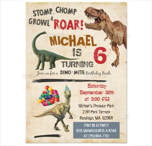 Matte Papered Dinosaur Birthday Invitation For Boy