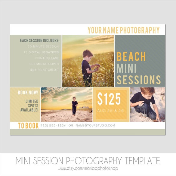 mini session photography postcard template