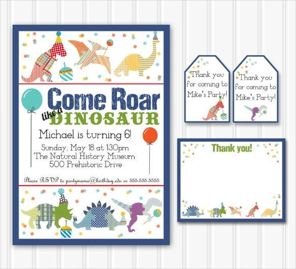 30 dinosaur birthday invitation templates psd ai vector eps personalized dinosaur birthday party invitation with thank you note stopboris Images