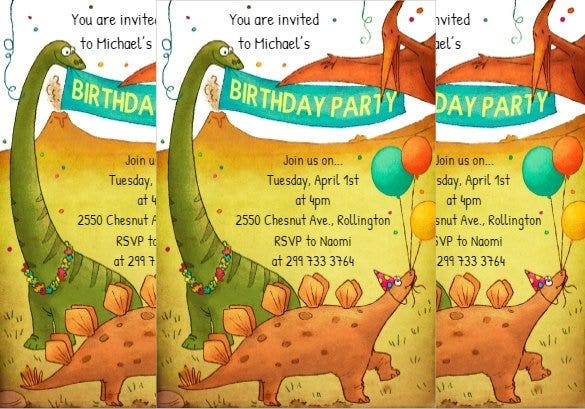 printable dinosaur birthday invitation template 1
