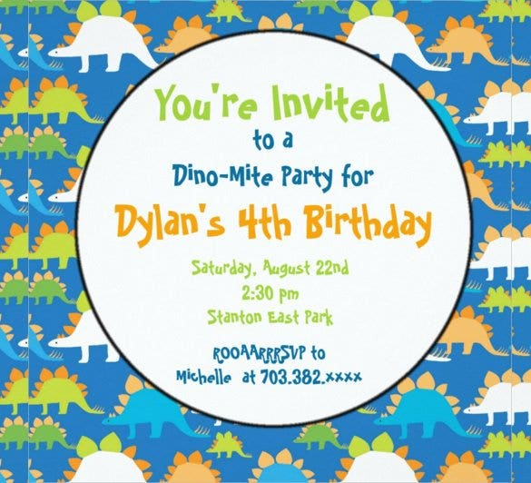 Dinosaur Birthday Invitation Templates 27 Free PSDEPSJPG – Invitation for the Birthday Party
