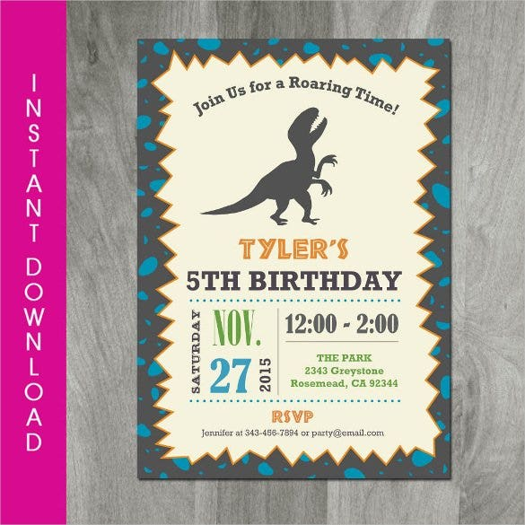 Self Editable Personalized Dinosaur Birthday Invitation