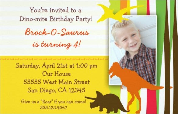 simpe yellow dinosaur birthday invitation for kids