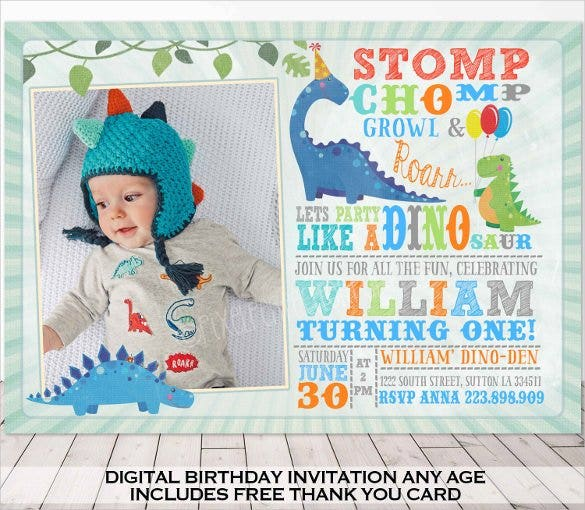 Simple Colourful Dinosaur Birthday Invitation With