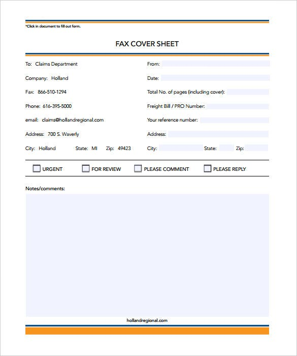 editable business damage fax cover sheet sample download