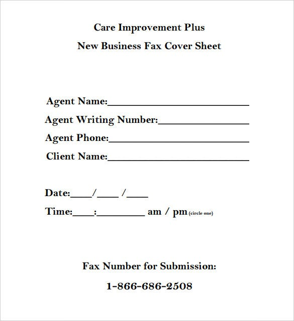care improvement plus new business fax cover sheet pdf